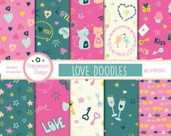 Love Doodles , digital paper pack