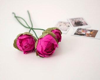 Three Beautiful Paper Flowers Peonies