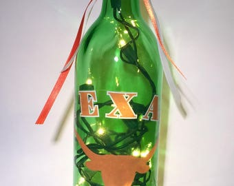 Texas Longhorns 750 ml. Lighted Wine Bottle