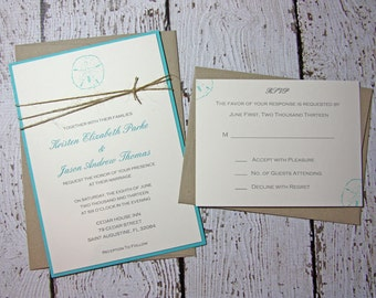 SAMPLE Sand Dollar Wedding Invitations/Beach Wedding Invitation/Summer Wedding Invitations