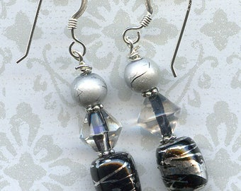 Black Beauty Sterling Silver Earrings