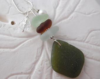 Stacked Sea Glass Necklace Pendant Green Beach Jewelry Sterling