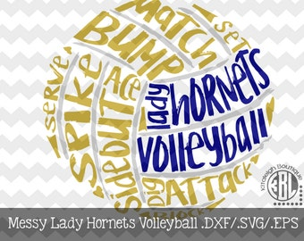 Messy Lady Hornets Volleyball design INSTANT DOWNLOAD in dxf/svg/eps for use with programs such as Silhouette Studio and Cricut Design Space