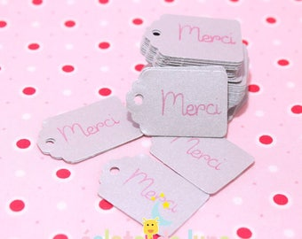 Silver registration tags Merci pink 35 / 23mm Pack of 50