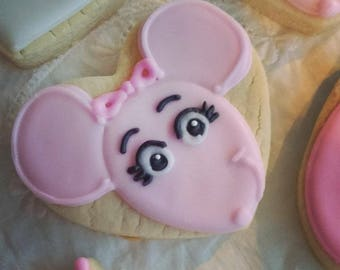 Ballerina Pink Mouse Cookies_Birthday Party Favors for Girl