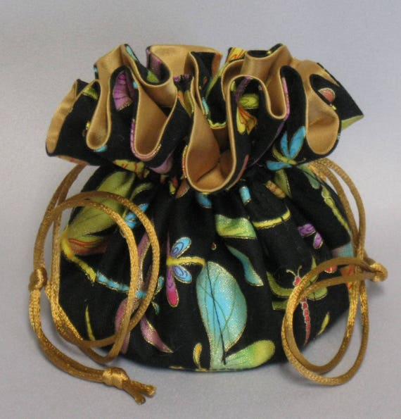 Jewelry Drawstring Travel Tote---Dragonflies Design Organizer Pouch-----Eight Pockets---Regular Size