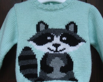 Pattern raccoon 100% hand knit sweater baby 3 months to 18 months