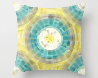 Geometric Throw Pillow Cover in Teal Yellow Grey White Modern Home Decor Living room bedroom accessories Cushion Decorative Pillow Cover