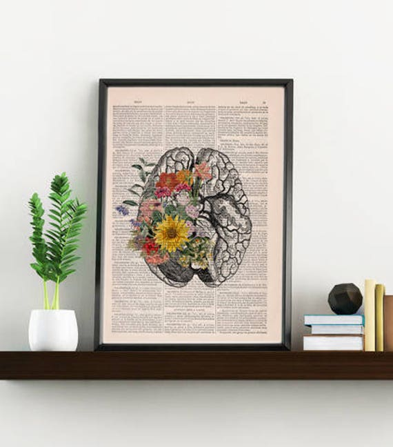 Springtime Mind Flowers on Brain,Nature Inspired Print, Decorative Art, Wall hanging print, Brain Art flowers SKA140