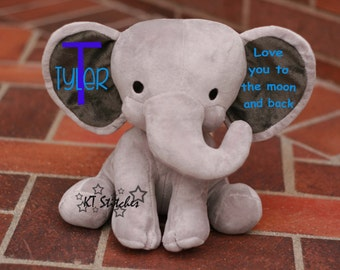 Stuffed Elephant Personalized/Subway Birth Announcement
