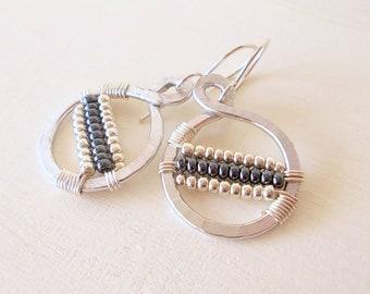 Hammered hoop earrings, aluminum hammered earrings, wire hoop earrings, simple hoop earrings, circle hoop earrings, gift for her