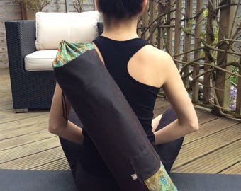 Yoga mat bag, waxed cotton, Pilates mat bag, holder for exercise  roll, fitness mat holder