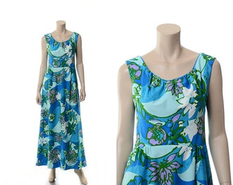 Vintage 60s Hawaiian Dress, Mod Polynesian Floral Dress 1960s Walt Disney Tiki Resort Long Maxi Dress