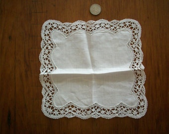 Antique Lace hand done wedding hanky/doily 1900