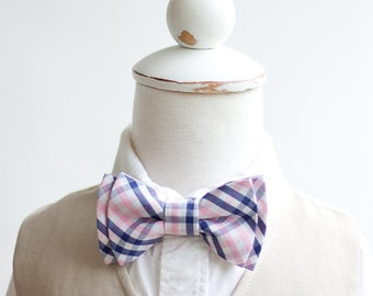 Bow Tie, Boys Bow Tie, Bow Ties, Baby Bow Ties, Bowtie, Bowties, Ring Bearer, Bow ties For Boys, Ties, Plaid Necktie - Navy And Pink Plaid