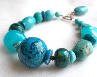 Turquoise Azurite Stone Chunky Statement Bracelet