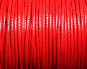 5 Metters - waxed cotton cord coated round 2 mm bright red - 4558550088307