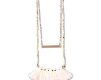 MULTI TASSEL CHARM layered necklace