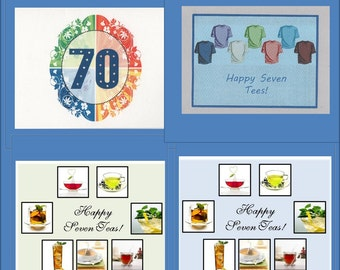 70th Birthday Card -- 4 Variations - Cards Good for Men -- Free Shipping in USA