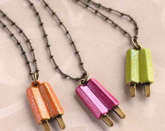 Popsicle Necklace, Sweet Romance, Best Friends Necklace, Three Best Friends, Ice Cream Necklace, Ice Cream Jewelry, Summer Necklace N147