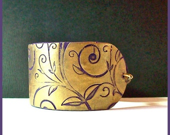 "Cuff Bracelet  Polymer Clay Gold Purple  Leaf & Tendrils 1  1/2""  Unique Design Magnetic Clasp"