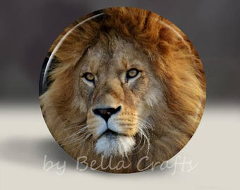 Lion - Magnet or Pin, or Pocket Mirror, 2.25 Inch Size Pinback Buttons, Fundraiser, Community, Home Decor, Party Favors, Bookbag Flair