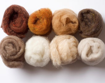 Needle Felting Wool Batting Assortment, Fiber Sampler, Naturals, Brown, Beige, Oatmeal, Skin Tones, Wet Felting, Spinning, Supplies