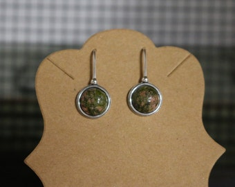 UNAKITE JASPER EARRINGS - Dangle - Handcrafted usa - Sterling Silver - Free Shipping