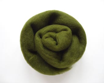 Carded Wool 50g, 1.7oz, Green, #5008, for Felting and Creative Crafts, 27 microns