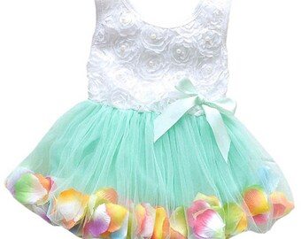 Dress toddler baby pearl rosette top with flower petals in skirt