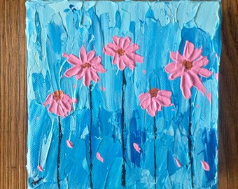 Pink Daisy Painting  - Blue Home decor - Bright Art - Pink Flowers Floral Wall Art - Acrylic Painting Textured  - Daisy Art - Flower Art