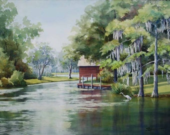 landscape painting, bayou art, boat house, watercolor print