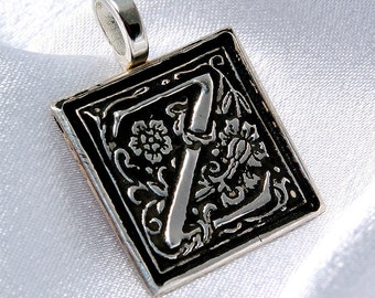 Clearance-Z is for Zen - Donatienne - recycled silver initial pendant