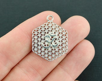 4 Flower of Life OM Charms Silver Tone Delicate Details - SC598 NEW1