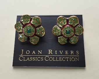 vintage Joan Rivers Classics Collection green rhinestone daisy flower clip on earrings red enamel peridot rhinestones teal blue cabochons
