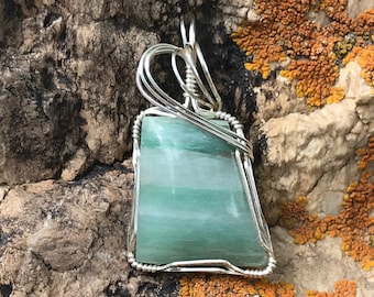 Green Aventurine Sterling Silver Wire Wrapped Stone Cabochon Pendant Necklace Free Shipping
