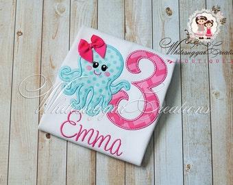 Girls Under The Sea Birthday Shirt, Custom Girl Octopus Shirt, Aqua and Pink Birthday Shirt, 1st Birthday Party Outfit