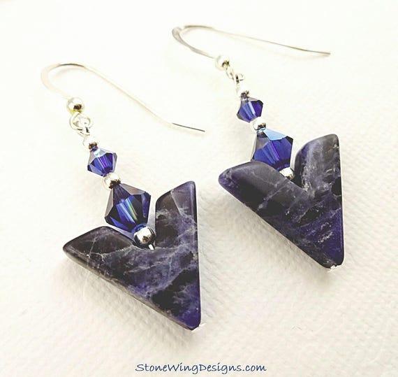 Blue Sodalite Gemstone Chevron Earrings