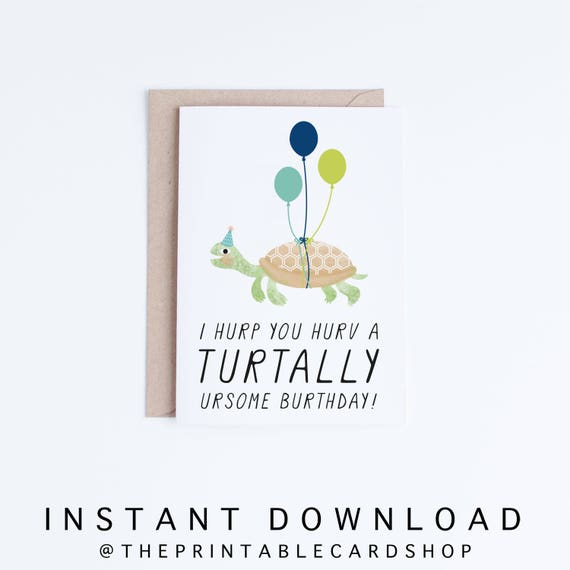 printable birthday cards funny turtle birthday cards instant
