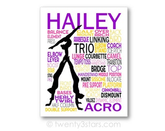 Acro Trio gymnastique typographie affiche, Acro Trio Art, Acro gymnastique cadeau, cadeau pour Tumbler, Acro Trio cadeau, Acro gymnaste toile Art