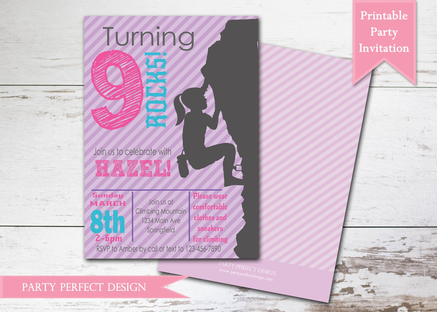 Rock Climbing Girl Birthday Party Invitation with optional