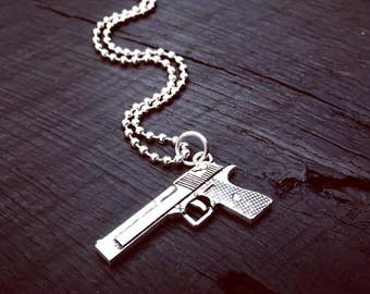 Mens Semi Automatic Pendant Necklace | Pistol Jewelry Gift | Mens Tactical Gift | Jewelry Gift For A Male Shooter | Gun Necklace For Him