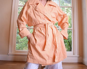Peach Gingham Trench