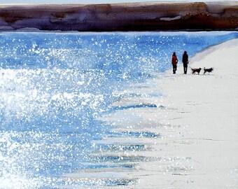 """Beach And Wall Decor, Art, Beach Print, Beach Decor, Couples Art, Couple on Beach """"Morning Walk along the Pale Sand"""" by Melanie McDonald"""