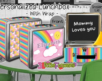 Rainbow Lunchbox - Personalized Metal Lunch Box with Chalkboard inside - Double-sided Tin Lunch Box - Name lunch box - Wrap or NO wrap