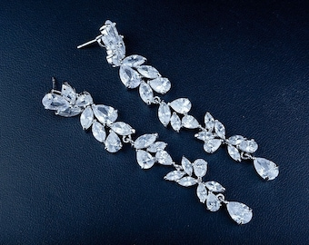 VOGUE - Silver Crystal Drop Bridal Wedding Earrings