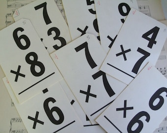 20 Vintage Math Flash Cards, School Days, Black and White, Black and White Wedding