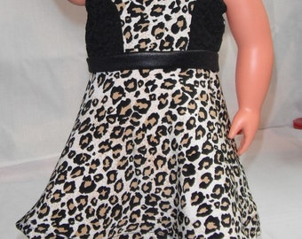 "Cheetah & Lace sleeveless dress w/ black midriff and invisible Back Zipper 18"" Doll Clothes"