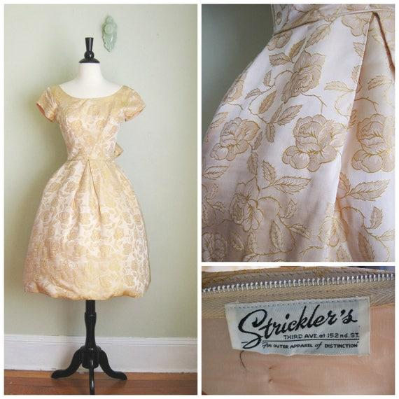 Gold Skirt 1950's Dress Pale Strickler's Brocade Rose Circle Skirt Full v6Sq5