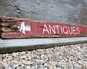 Antiques Sign Country Decor Farmhouse Decor Rustic Wood Sign Decor Distressed Wood Sign